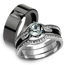 wedding rings his and hers st2843 arm2620 his hers 4pc silver and black stainless steel