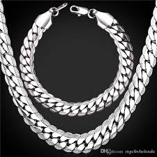 platinum plated necklace images 2018 u7 snake chains set 9mm platinum plated chain necklace jpg
