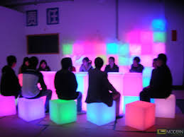 led cubes illuminated furniture rechargeable led cube with color change remote