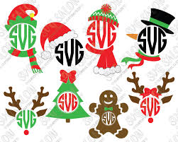 monogram christmas christmas circle monogram cutting file set with santa hat