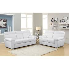 White Leather Sofa Set Alto Modern High Back Leather Sofa Collection In White