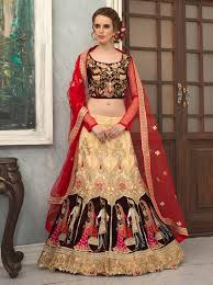 bridal wear groom embroidery lengha choli for bridal wear beige bridal