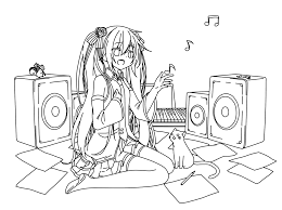 miku hatsune line art by doremefasoladedo on deviantart