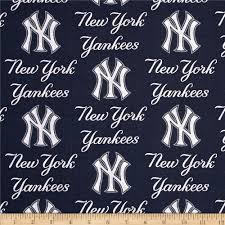 mlb cotton broadcloth new york yankees blue discount designer