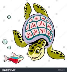 turtle fishcartoon tortoisesea animalsvector image isolated stock