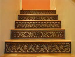 Tiles For Stairs Design Home Interior Dark Blue Floral Pattern Tiles Stairs Risers