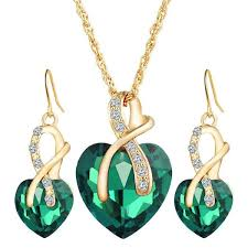 earrings necklace images Emerald ribbon heart heart and ribbon set necklace and jpg
