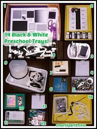 15 black and white color preschool trays