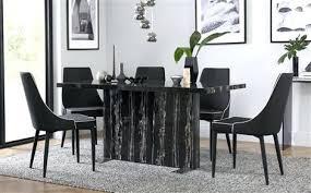 black marble dining table set black dining table black marble dining table with 6 black chairs