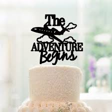 airplane cake topper custom cake topper the adventure begins cake topper wedding