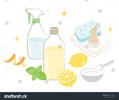 natural cleaning products vinegar baking soda stock vector