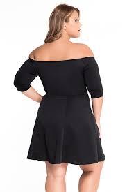 Trendy Plus Size Womens Clothing Wholesale Wholesale Boat Neck Fleshy Black Skater Dress