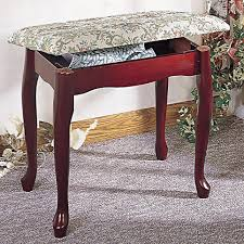 Bathroom Stool Storage Foot Stools Cherry Finish Upholstered Vanity Stool Bench With Lift