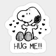 snoopy valentines day peanuts snoopy valentines day hug me snoopy sticker teepublic