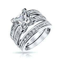 wedding ring set 925 sterling channel set princess cz engagement wedding ring set