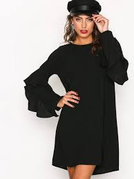 sleeve dress ruffle sleeve dress nly trend black party dresses clothing