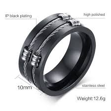 cool mens rings men s black ring titanium steel cool wire rings for rock