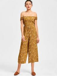 s jumpsuits floral the shoulder jumpsuit earthy jumpsuits rompers
