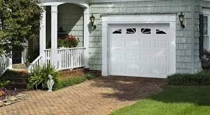 amarr short panel garage door in true white with prairie windows