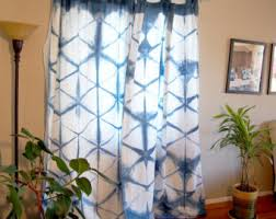 Blue And White Window Curtains Boho Curtains Etsy
