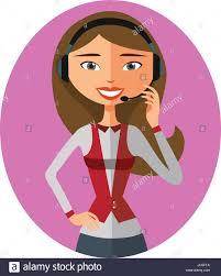 cartoon customer support operator icon call center woman avatar