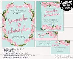 mint and pink floral wedding invitation set printable mint and