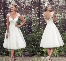 simple wedding dresses uk discount 2017 tea length wedding dresses v neck cap
