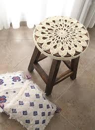 Crochet Home Decor Patterns Free Diy Crocheted Doily Stool Cover Craft U0026 Diy Pinterest Stool