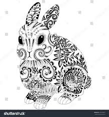 high detail patterned rabbit zen tangle stock vector 437268547