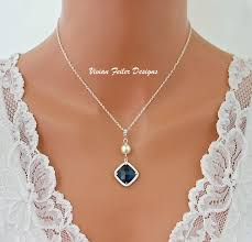 sapphire pearl necklace images Blue necklace pearl sapphire blue wedding jewelry bridal necklac jpg