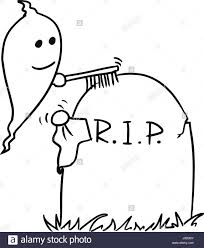 graveyard clipart black and white cartoon vector small ghost is cleaning up the tombstone with brush