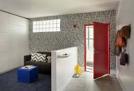 Half Wall Table Half Wall Wallpaper Entry Contemporary With White Lacquer Floating