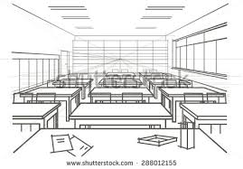 linear architectural sketch interior classroom stock vector
