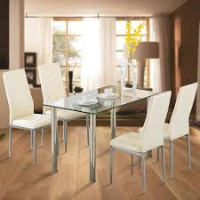 kitchen furniture set uenjoy 5pcs glass dining table with 4 chairs set kitchen furniture