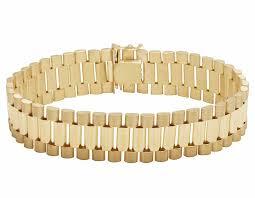 solid bracelet images Solid 10k gold men 39 s presidential style designer bracelet 16mm jpg