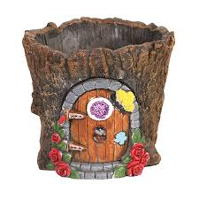 Fairy Door by Fairy Door Cement Flower Pot Garden Gnome House Tree Stump