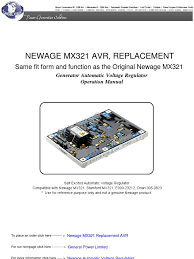 newage mx321 automatic voltage regulator electric generator