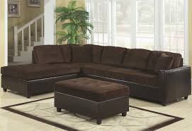 White Laminate Floor Tiles Brown L Shaped Sectional Couch With Black Leather Base And Gray