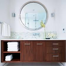 Modern Bathroom Mirror by Bed U0026 Bath Floating Vanity And Vessel Sink With Mid Century