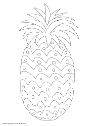 fruits and vegetables coloring pages pineapple