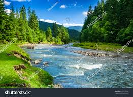 landscape mountains forest river front beautiful stock photo