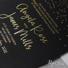 Gold Invitation Card Black Gold Foil Confetti Elegant Wedding Invitation U2013 Paper Love Cards