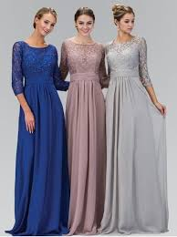 bridesmaid gowns 2016 a line silver gray modest chiffon lace bridesmaid