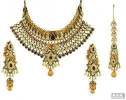 gold bridal set 22k exclusive kundan bridal set without tikka ajns53880 22k