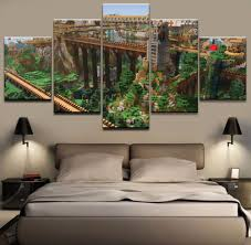 online get cheap minecraft wall art aliexpress com alibaba group 5 pieces minecraft game poster canvas hd printed modular painting for modern living room wall art