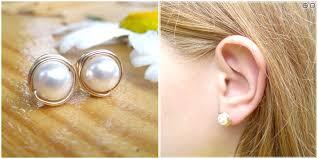 diy earring studs diy wire wrapped pearl stud earrings wedding jewelry series