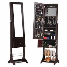 mirror and jewelry cabinet jewel cab 8318 brown langria free standing lockable jewelry cabinet
