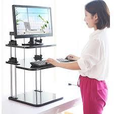 Sit Stand Desk Adapter Adjustable Height Computer Workstation Adjustable Standing