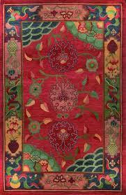 Handmade Wool Rug Gangchen Tibetan Wool Area Rug Classic Tibetan Floral Red A