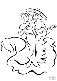 cinco de mayo traditional dances coloring page free printable